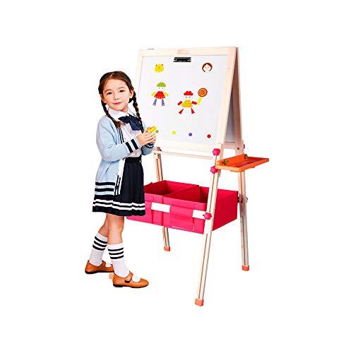 Kid's houten kunst-schildersezel Dubbelzijdige ezel voor kinderen Whiteboard & schoolbord met verstelbare standaard & draai (Beige)