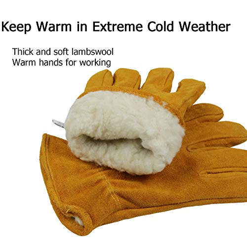 OZERO Insulated Gloves Cold Proof Leather Winter Work Glove Thick Thermal Imitation Lambswool - Extra Grip, Flexible and Warm for Working in Cold Weather for Men and Women (Gold,X-argeL)