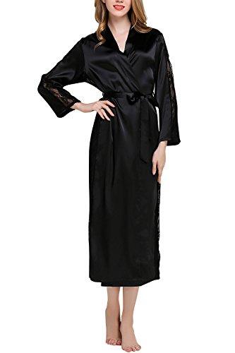 Dolamen Kimono Bata de mujer larga, camisones de encaje para mujer, bata de baño de satén de seda, pijama de dama de honor, busto 108 cm, 45,52 pulgadas (negro)