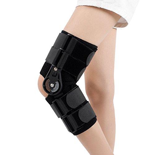Mr.LQ tibial fraktur knäled stöd justerbar nedre kantstöd menisk fast skyddsenhet chuck typ rehabilitering, svart, L