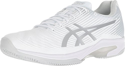 ASICS Men's Solution Speed FF Clay Tennis Shoe, White/Silver, 8 M US