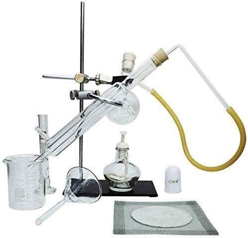 Destilador de Vidrio DIY Lab Conjunto de destilación de Aceite Esencial con Kits de matraces de Tubo de Condensador Equipo de destilación Pequeño Adecuado para Suministros de Laboratorio de cienci
