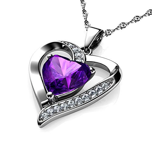 DEPHINI - Purple Heart Necklace - 925 Sterling Silver - Branded CZ Crystal Pendant Birthstone - Fine Jewellery Love - 18' Premium Rhodium Plated Silver Chain - A+ Cubic Zirconia - Gifts for Women