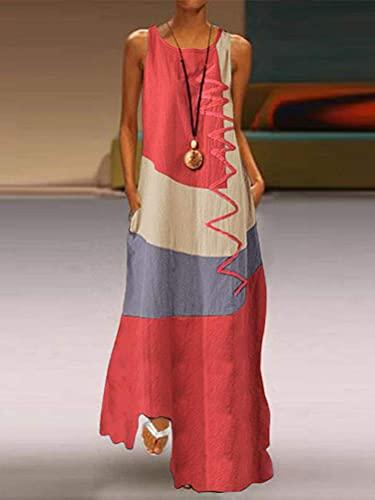 Onsoyours Vestidos Mujer Casual Playa Largos Verano Tie Dye Vestido Boho Larga Maxi Vestido Playeros A Rojo L