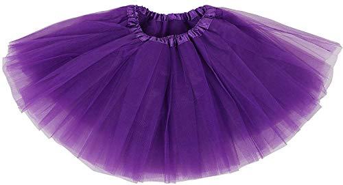 Ksnnrsng Damen Tütü Rock Minirock 3 or 5 Lagen Petticoat Tanzkleid Dehnbaren Tutu Rock Ballettrock Tüllrock für Party (Lila)