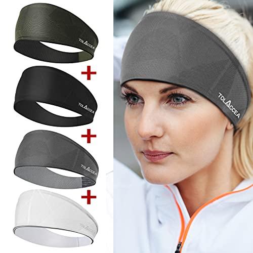 4 Stück Sport Stirnbänder für Damen und Herren, Feuchtigkeitsableitendes Schweißband, Gute Elastizität Stirnband Trainingsschweißbänder für Yoga, Laufen, Fitnesstraining, Wandern und Radfahren