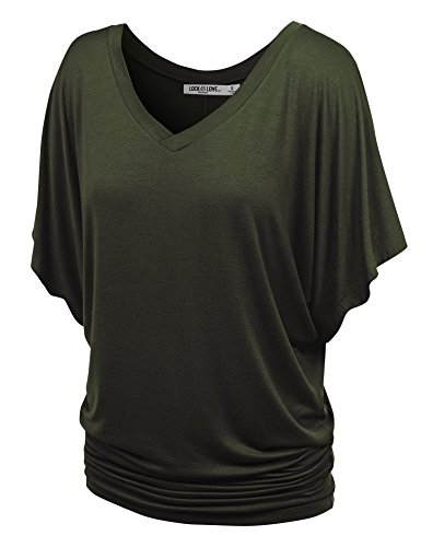 Lock and Love WT1038 Womens V Neck Short Sleeve Dolman Top XL Olive