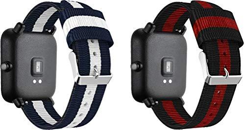 NeatCase Correa de Reloj de NATO Nailon Compatible con Amazfit GTR 42mm / GTS/Bip/Bip Lite, Mujer y Hombre, Hebilla de Acero Inoxidable (20mm, 2PCS C)