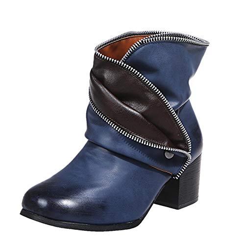 Stiefeletten mit Absatz Damen Mode Schlupfstiefel Kurze Stiefel Herbst Winter Damenschuhe Chelsea Gummistiefeletten Regenstiefel ReißverschlussSchwarz Warme Schnee Schuhe