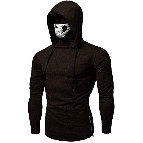 Männer Elastic Fitness Ninja Anzug mit Kapuze langärmliges T-Shirt Radfahren Pullover mit Schädel-Gesichtsmaske Skeleton Hoodie (Color : Black, Size : Medium)