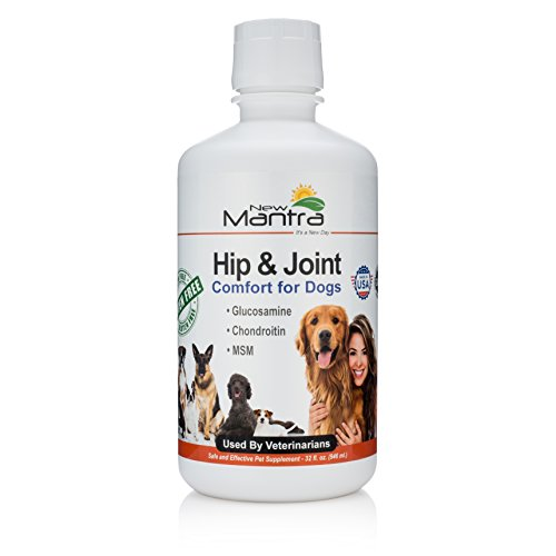 New Mantra Dog Joint Supplement - Dog Pain Relief Medication with Liquid Glucosamine Chondroitin and MSM - 32 Once Liquid