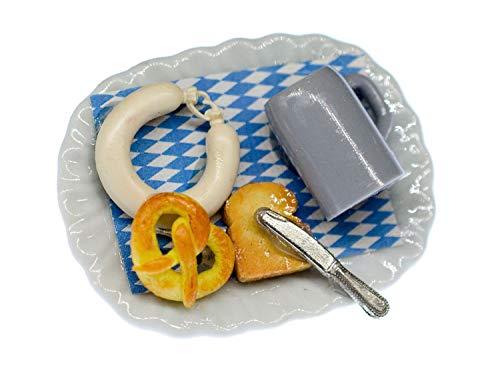 Miniblings Oktoberfest Teller Brosche Essen Wiesn Bier Brezel Wurst Toast Messer