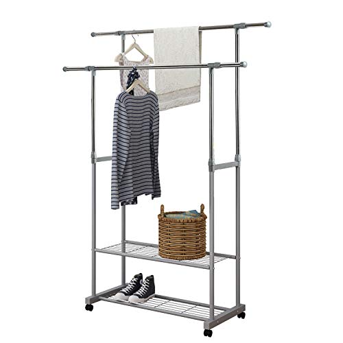 YUSONG Double Hanging Rail Telescopic Garment Rack, Adjustable Clothes Rack with 2 Tier Metal Shelf and Wheels, Grey