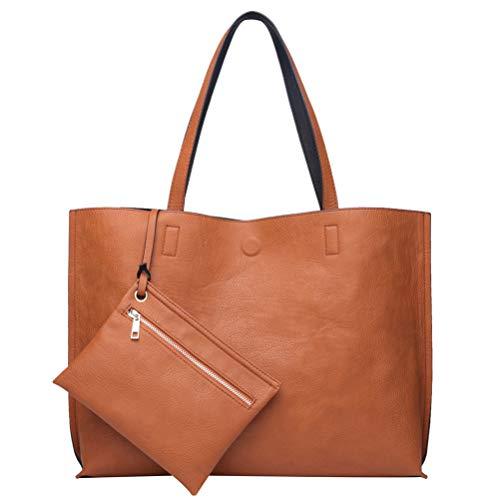 ilishop Stylish Tote Bag Reversible Shoulder Handbag with Coin Purse for Women (Black-brown)