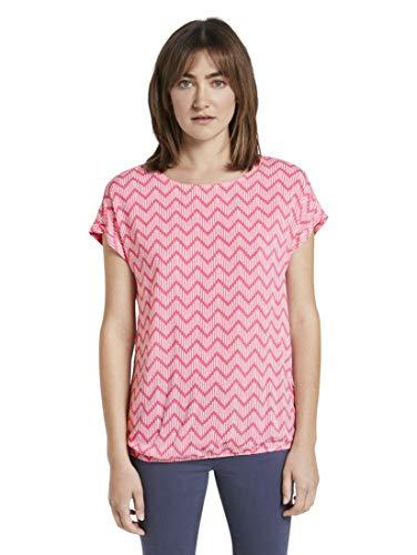 TOM TAILOR Damen Loose AOP Bluse, Pink Zick Zack Design, 44