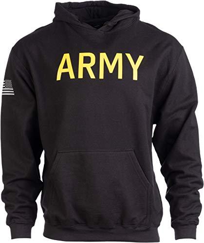 Army PT Style Hoodie | U.S. Military Training Infantry Workout Fleece Hoody Sweatshirt-(Hood,XL) Black