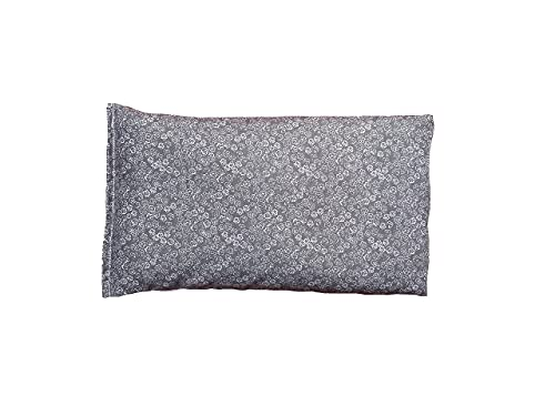 Sacksy Thyme Microwave Heating Pad for Back, Neck, Menstrual Cramps, Shoulders, Leg Pain Relief - Hot Moist Microwavable Therapy Pack - Gray Unscented Flaxseed Heat Pad Made in USA