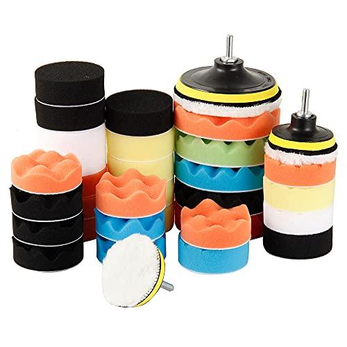 39PCS Esponja Pulir para Coche Kit Pulido Coche para Taladro Incluye Almohadilla de Esponja de 3,5 pulgadas para pulidor de Coches Pulidor de Barcos