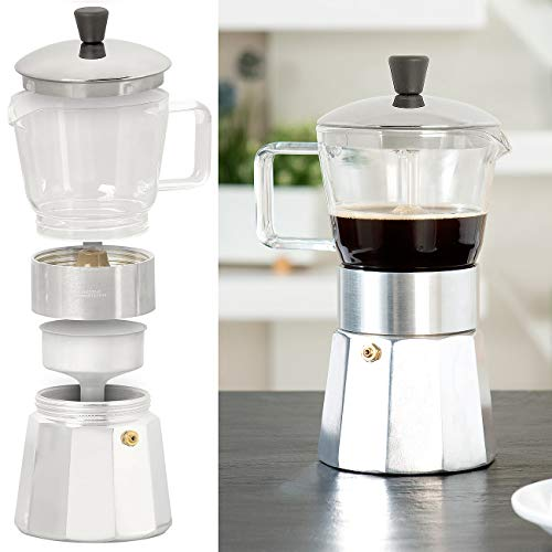 Cucina di Modena Espresso-Kocher: Design-Espressokocher, Kanne aus Borosilikat-Glas, 300 ml, 6 Tassen (Mokka-Kaffeekanne)