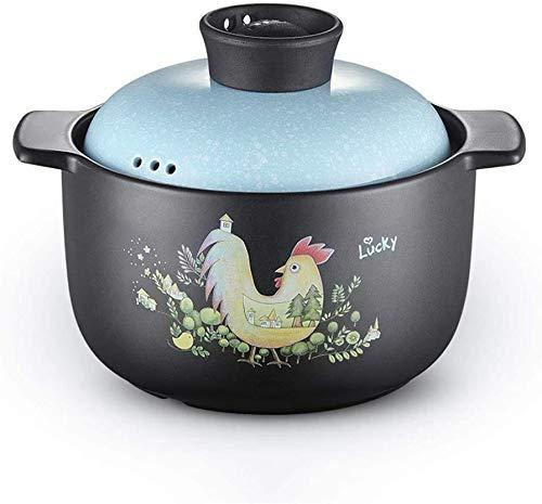 ZCM Auflauf Keramik Auflauf - Cartoon Keramik Auflauf Für Haushaltsgas, Open Flame Suppe Steintopf Auflauf Hühnerbrei Isolierter Auflauf(Color:EIN,Size:4L)