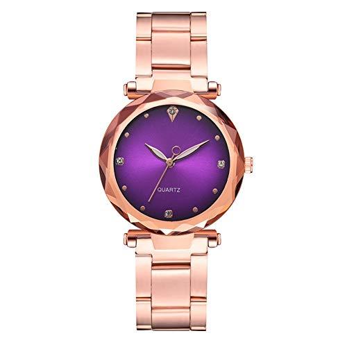 GJHBFUK Reloj Mujer Reloj De Cuarzo con Correa De Oro Rosa A La Moda, Reloj De Mujer con Diamantes De Imitación con Dial De Color Degradado (púrpura)