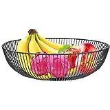 CENBEN Canasta de Frutas,Cesta para Frutas,Canasta de Hierro Hueco,Cesta de Almacenamiento para Frutas,Frutero de Metal,Soporte Decorativo Negro para Fruta y Almacenamiento de Frutas (28x8CM)