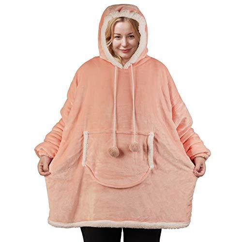 softan Sherpa Hoodie Sweatshirt Decke Übergroße Fronttasche Giant Plüsch Pullover mit Kapuze Gemütlich Bequem for Erwachsene Männer Frauen,Blush Pink, Einheitsgröße