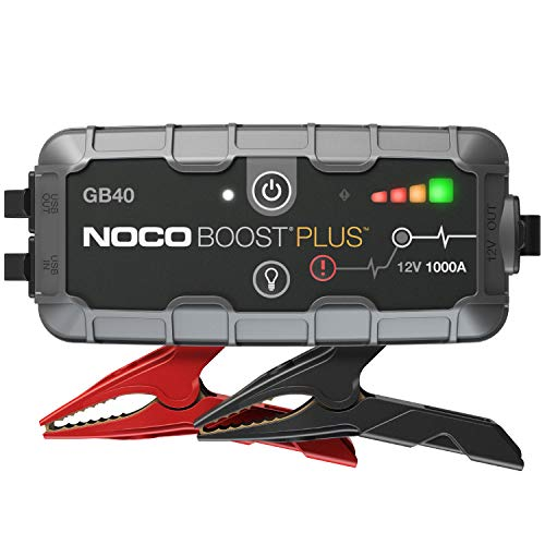 NOCO Boost Plus GB40 1000 Amp 12-Volt UltraSafe Lithium Jump Starter Box, Car Battery Booster Pack, Portable Power Bank Charger, and Jumper Cables For 6-Liter Gasoline and 3-Liter Diesel Engines