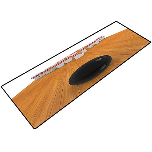 Bowling Party Decorations Carpets Doormat Bowling Alley with Skittles and Ball in Position Print Bath Rugs and doormats 22x36 Inch