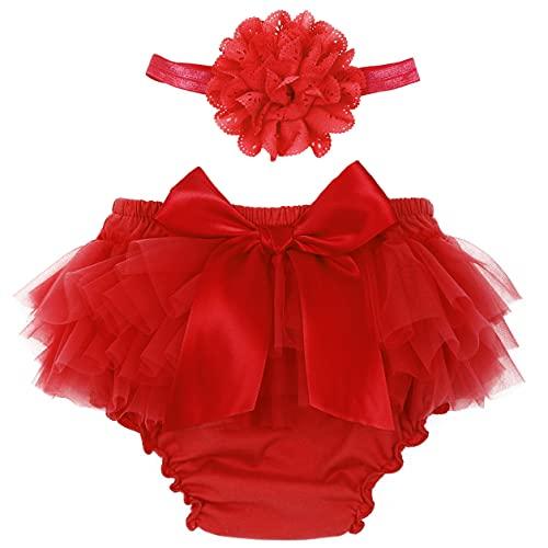 TSSOE Baby Mädchen Höschen Schichten Trainerhosen Rüschen Shorts Pumphose Unterhose Unterwäsche Windel Decken H Rot 62-68