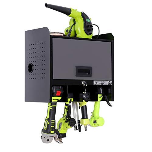 TANKSTORM壁掛けドリルツール収納スチールボックス、ドリルツール充電ステーション、電気ドリル収納ツールボックス、ドリルツールオーガナイザー DDG01