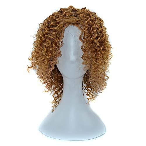 Souple 14inch 220g Tête Complète Cheveux Pour Femmes100% Véritable Cheveux Humains Profonde Perruque Claire Bouclée fashion (Color : Light bown, Size : 14 inch)