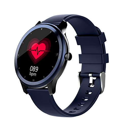 WEINANA Reloj Inteligente con Llamada Bluetooth, podómetro Deportivo, Pulsera Inteligente a Prueba de Agua, Tiempo, Ritmo cardíaco, monitorización del sueño, Reloj Inteligente(Color:A)