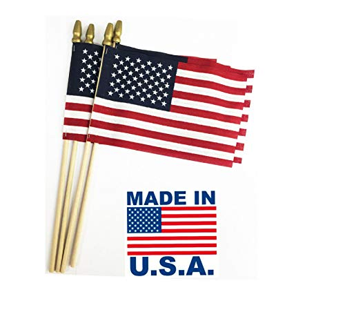 GiftExpress Pack of 12, Made in USA 12x18 Inch US Stick Flags with Spear Tip, 12in x18 inch Handheld American Stick Flags, Grave Marker American Flags, Cemetery Flags on 30' Dowel with 2''Gold Tip
