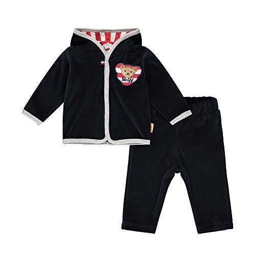 Steiff Baby-Jungen mit süßer Teddybärapplikation Set Hose+Sweatshirt, Navy, 086