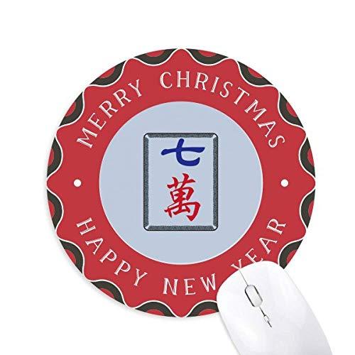 Mahjong Million 7 Fliesen Muster Maus Pad Fröhliche Weihnachten Rundgummi