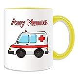 Tazza per ambulanza (tema di trasporto, opzioni di colore) – qualsiasi nome/messaggio sul vostro unico – NHS Van Vehicle Hospital St John Croce Rossa Paramedico Emergenza Services 999 autista Automobile