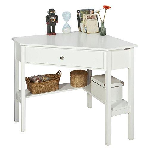 SoBuy® FWT31-W Ecktisch weiß Schreibtisch Computertisch Arbeitstisch Tisch mit Ablage HT ca: 76x76cm