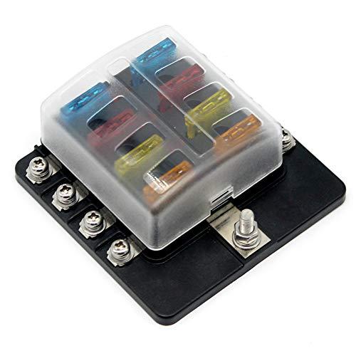 Matefield zekeringkast, 8-weg zekeringhouder, met LED-verlichting, voor auto, boot, 12 V, 24 V