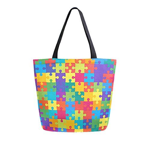 Puzzle Rainbow Bolsa de la compra reutilizable de lona de alta resistencia bolsa grande plegable lavable bolso de hombro para mujer