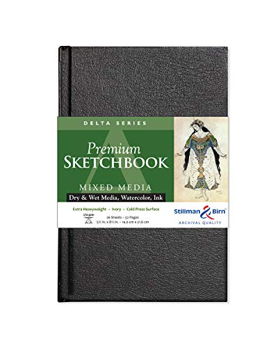 Stillman & Birn Delta Series Hardbound Sketchbook, 5.5' x 8.5', 270 gsm (Extra Heavyweight), Ivory Paper, Cold Press Surface