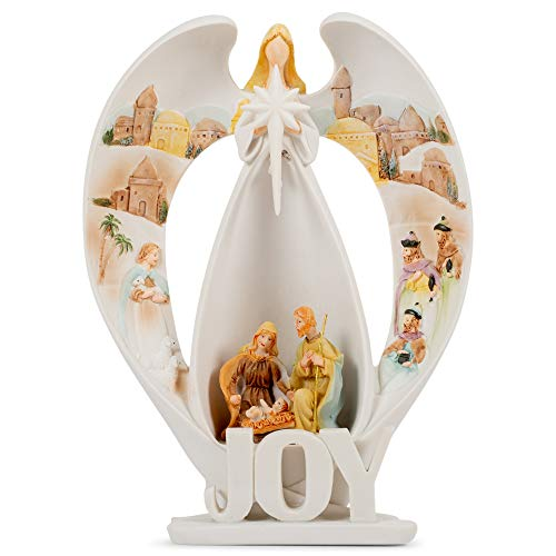Dicksons Joy Angel Winter White 7 inch Resin Stone Holiday Collectible Figurine