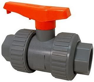 Nibco Chemtrol Tru-Bloc U45TB-V PVC SCH 80 True Union Ball Valve With Orange Handle, 2