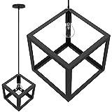 bakaji lampadario lampada a sospensione da soffitto cubo 28 cm in metallo design moderno portalampada attacco e27 lampadina max 40w illuminazione arredamento casa con kit montaggio incluso (nero)