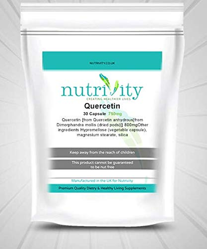 Quercetin 750mg Veg Capsule Manufactured Energy Booster Supplement by Nutrivity (120)