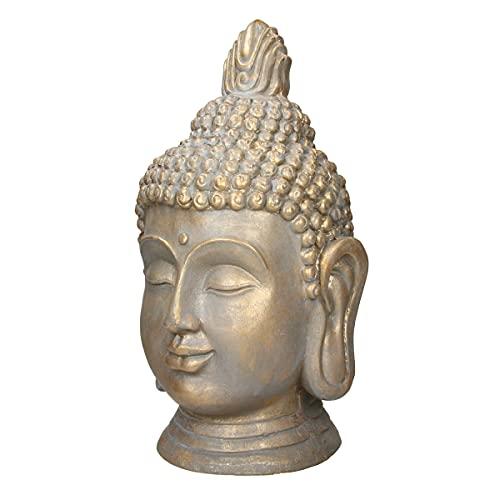 ECD Germany Buddha Kopf Statue 53 cm - aus Polyresin - Bronzeoptik - für Yoga, Feng Shui oder Meditationsraum - Haus, Wohnung & Garten - Innen/Außen -...