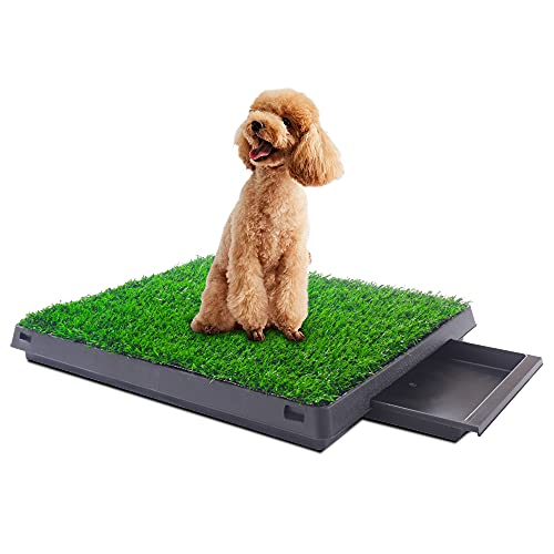 COZIWOW Turf Potty Pads for Puppy Dogs Pee Training, Fake Artificial Grass Patch Rug with Tray, Washable Pet Mat, Rug Turf for Dogs Indoor Outdoor Fake Grass for Dogs Potty Training Area,25