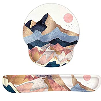 Keyboard Wrist Rest Pad Gel Memory Foam Mouse Pad Wrist Support Set with Ergonomic Design Non-Slip Easy Typing Rubber Base for Office Home Working Gaming and Programming Artistic Conception
