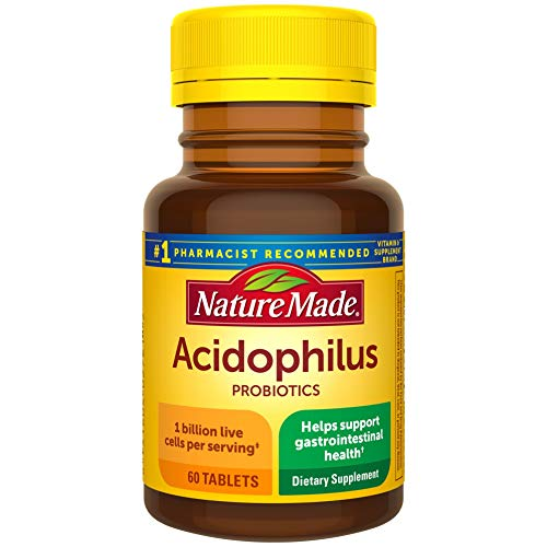 nature made probiotics for women Nature Made Acidophilus Probiotics 1 Billion CFU Per Serving, 60 Tablets, for Digestive Balance and Gastrointestinal Health