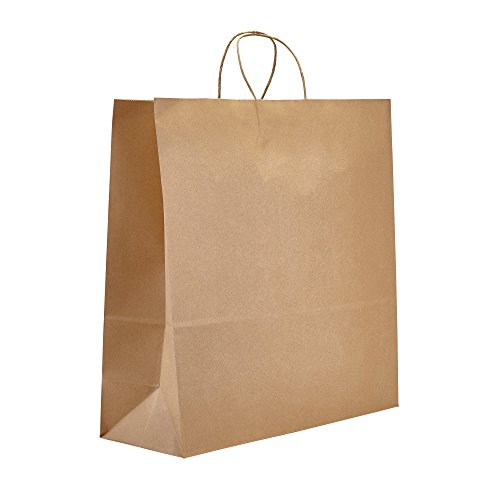 PTP - 18' x 7' x 18.5' Natural Kraft Paper Gift Tote Bags - 200 Count  Perfect for Birthdays, Weddings, Holidays and All Occasions   White or Natural Colors   Multiple Sizes